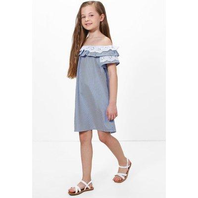 Stripe Off Shoulder Crochet Sun Dress - navy