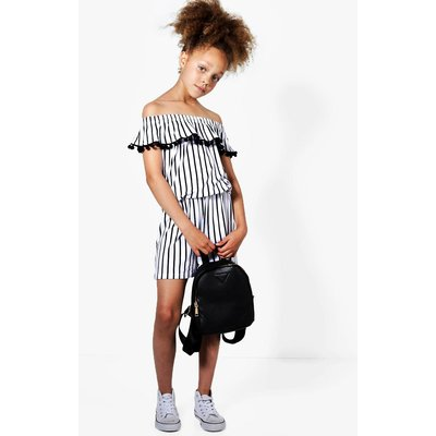 Stripe Bardot Playsuit - multi