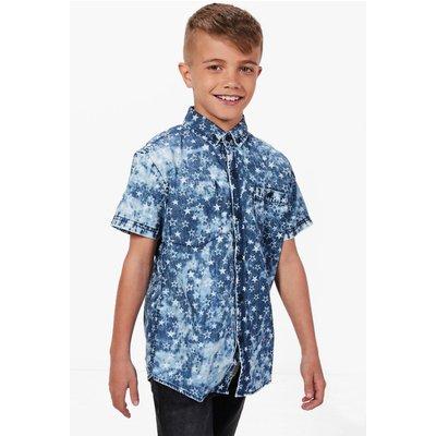 Star Distressed Denim Shirt - dark blue