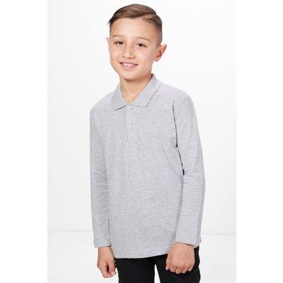Long Sleeve Polo Top - grey
