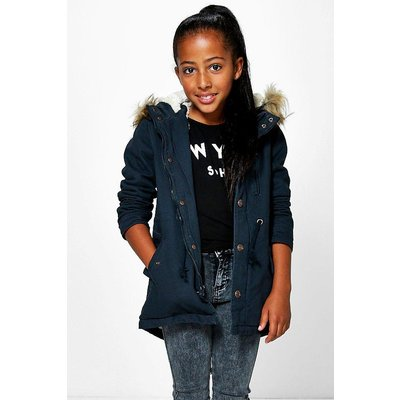 Padded Faux Fur Hooded Parka - navy