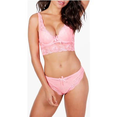 Lace Brazillian Knickers - coral