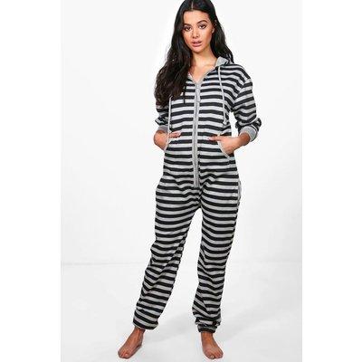 Stripe Zip Front Onesie - grey