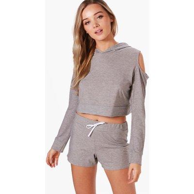 Cold Shoulder Hoodie & Short Set - grey