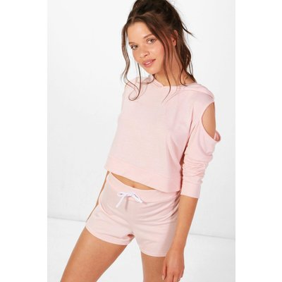 Cold Shoulder Hoodie& Short Set - blush