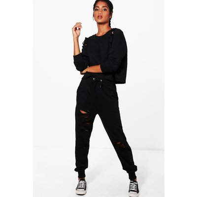 Distressed Sweat  Jogger Set - black