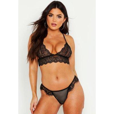 Scallop Lace Longline Bralet - black