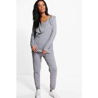 Frill Top & Legging Set - grey