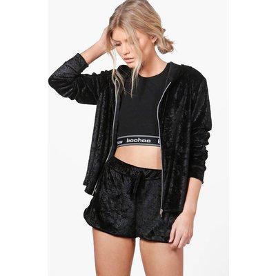 Velour Short And Hoodie Set - black