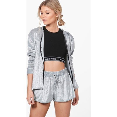 Velour Short And Hoodie Set - silver