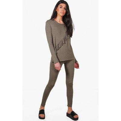 Jersey Ruffle Lounge Top  Legging Set - khaki