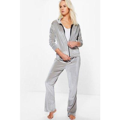 Velour Zip Through Hooded Flare Lounge Set - grey