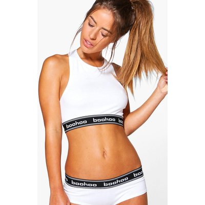 White Boohoo Racer Back Crop Bralet - white