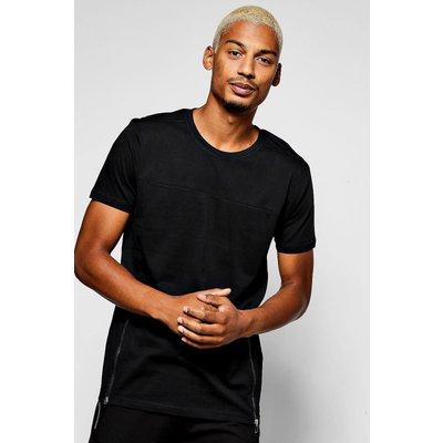 T-Shirt With Zip Hem - black