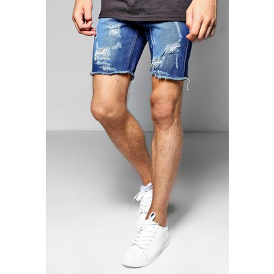 Fit Denim Shorts With Ripped Hem - mid blue