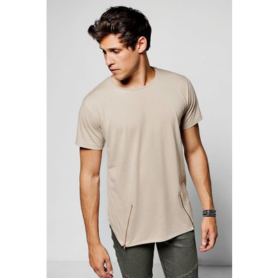 Neck T-Shirt With Angle Zips - taupe