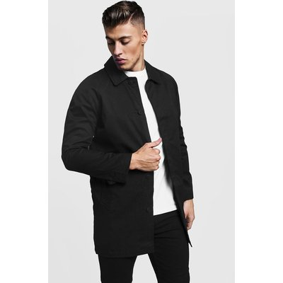 Breasted Button Through Cotton Mac - black