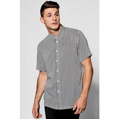 Slim Stripe Short Sleeve Shirt - black