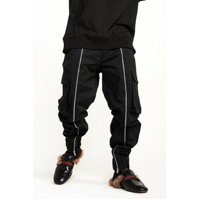 Zip Detail Cargo Trouser - black