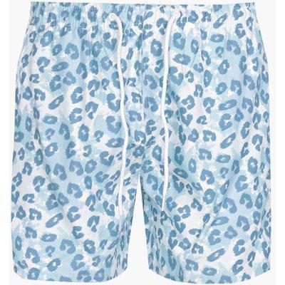 Print Mid Length Swim Shorts - blue