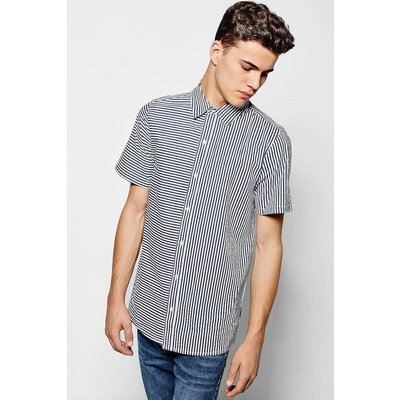 Stripe Short Sleeve Shirt - navy