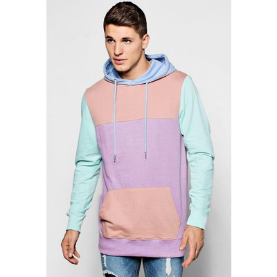 And Sew Panelled Colour Block Hoodie - pink