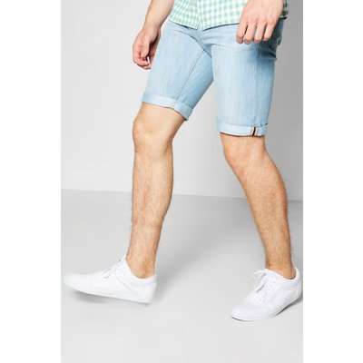 Blue Denim Shorts With Turn Ups - blue
