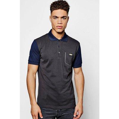 Sleeve Cotton Polo Shirt - charcoal