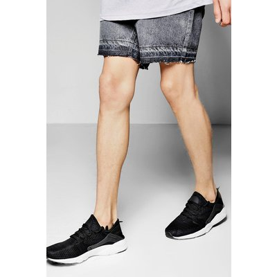 Wash Denim Shorts With Raw Edge - grey