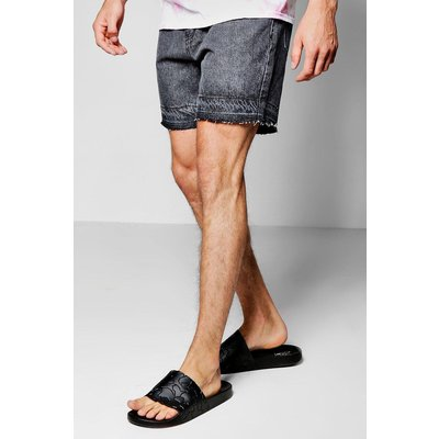 Wash Denim Shorts With Raw Edge - charcoal