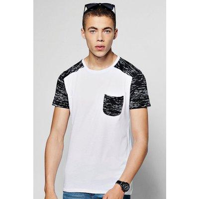 Sleeve Raglan Space Dye T-Shirt - black
