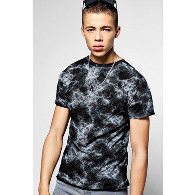 Sleeve Crew Neck Marble Print T-Shirt - black