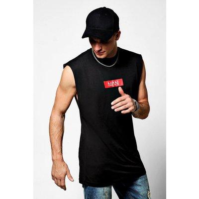 Red Box Sleeveless Drop Armhole T-Shirt - black