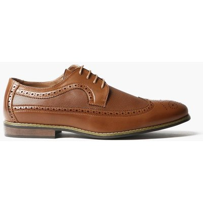 Textured Brogues With Perforated Detail - tan