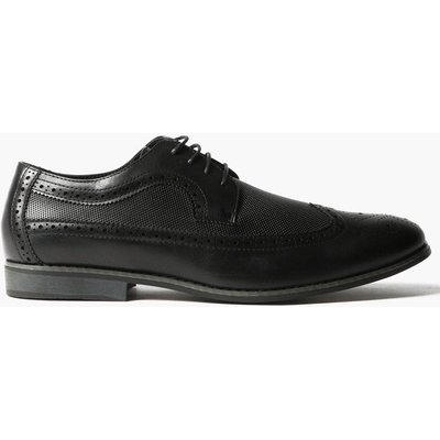 Textured Brogues With Perforated Detail - black