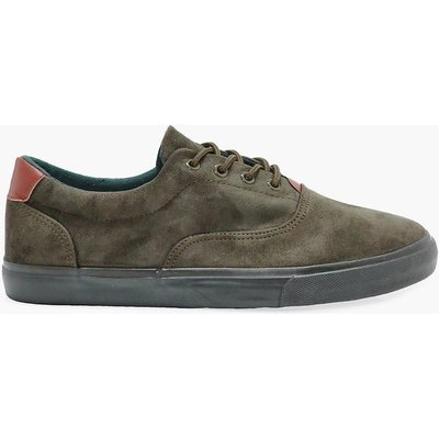 Suede Lace Up Trainers - khaki