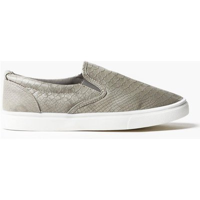Snake Skin Slip On Trainers - grey
