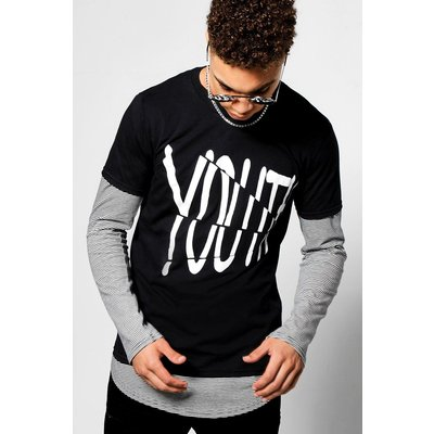 'Youth' Print Crew Neck T-Shirt - black
