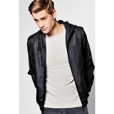 Zip Through Hooded Cagoule With Mesh Inserts - black