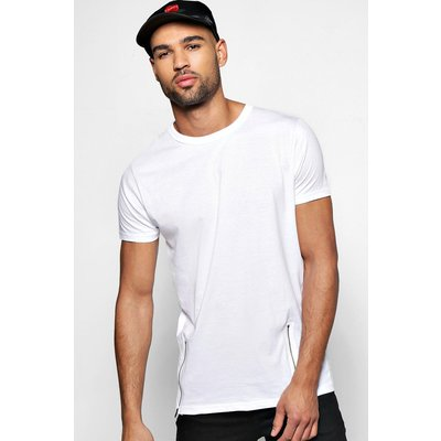 T Shirt With Front Zips - white