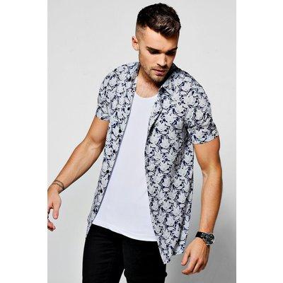 Print Short Sleeve Shirt - navy