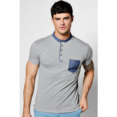 Sleeve Polo with Chambray Collar - grey