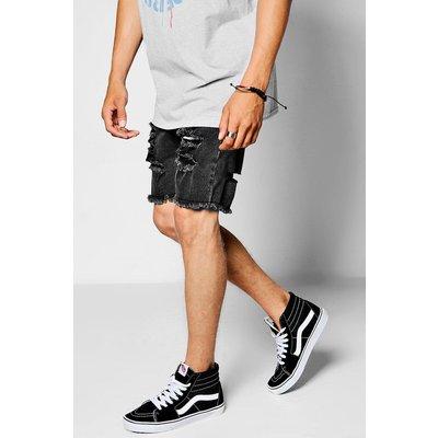 Super Skinny Ripped Raw Edge Denim Shorts - black