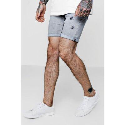Skinny Fit Acid Wash Distressed Denim Shorts - grey
