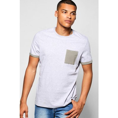 Pocket Turn Up T-Shirt - grey