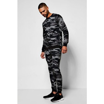 Camo Crew Neck Sweater Tracksuit - black