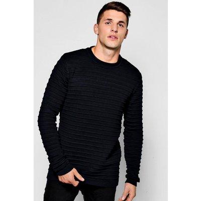 Neck Ribbed Knit Jumper - black