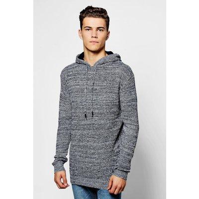Yarn Knitted Hoodie - navy