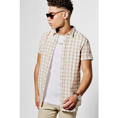Gingham Short Sleeve Shirt - stone