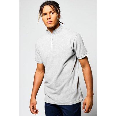 Collar Pique Polo - grey marl